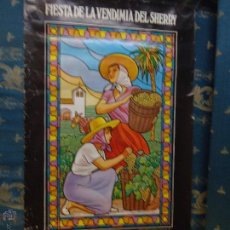 Carteles Feria: CARTEL GRANDE FIESTA DE LA VENDIMIA SHERRY 1082 DEDICADA A BOSTON - JEREZ CADIZ. Lote 45025616