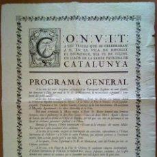 Carteles Feria: CARTELL CONVIT FESTES DE LA VERGE. RIPOLLET 6 DE JULIO DE 1919.. Lote 45046268