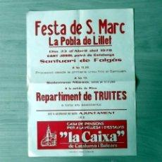 Carteles Feria: LA POBLA DE LILLET FESTA SANT MARC 1978 CATALUNYA. Lote 45493777