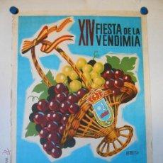 Carteles Feria: CARTEL ORIGINAL LITOGRAFICO FIESTAS DE LA VENDIMIA REQUENA 1961 - ILUSTRA A. PERIS. Lote 45677327