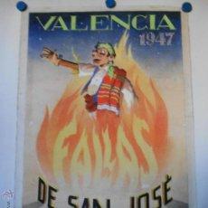 Carteles Feria: FALLAS DE SAN JOSE - VALENCIA 1947 - MAQUETA ORIGINAL PINTADA Y FIRMADA POR A. PERIS. Lote 45677883