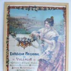 Carteles Feria: FABULOSO CARTEL ANTIGUO ORIGINAL EXPOSICION NACIONAL VALENCIA OCTUBRE 1910 LITOGRAFIA DURA PASTOR. Lote 46304298