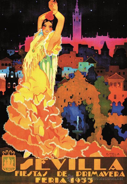 FERIA 1933 SEVILLA FIESTAS DE PRIMAVERA. LÁMINA CARTEL 45 X 32 CMS. (Coleccionismo - Carteles Gran Formato - Carteles Ferias, Fiestas y Festejos)