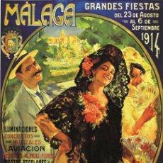 Carteles Feria: MALAGA GRANDES FIESTAS 1914. LÁMINA CARTEL EN PAPEL GRUESO ESTUCADO DE 45 X 32 CMS.. Lote 50741279