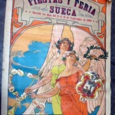 Carteles Feria: IMPRESIONANTE CARTEL , FERIAS Y FIESTAS SUECA , 1906, VALENCIA, LITOGRAFIA , JOSE MONGRELL, ORIGINAL. Lote 46351371