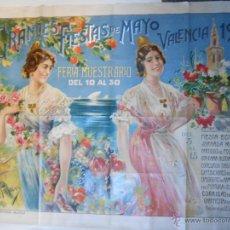 CARTEL LITOGRAFICO ORIGINAL GRANDES FIESTAS MAYO-FERIA MUESTRARIO VALENCIA 1917 - ILUSTRA G. PALAU