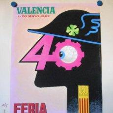 Carteles Feria: FERIA MUESTRARIO INTERNACIONAL VALENCIA 1962 - MAQUETA ORIGINAL PINTADA Y FIRMADA POR A. PERIS. Lote 46392129