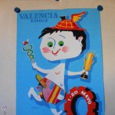 Carteles Feria: FERIA MUESTRARIO INTERNACIONAL VALENCIA 1963 - MAQUETA ORIGINAL PINTADA Y FIRMADA POR A. PERIS. Lote 46392214