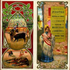 Carteles Feria: CARTEL FERIAS Y FIESTAS, MEDINA DE POMAR , BURGOS , 1909 ,TOROS, ORIGINAL , A. Lote 46600239