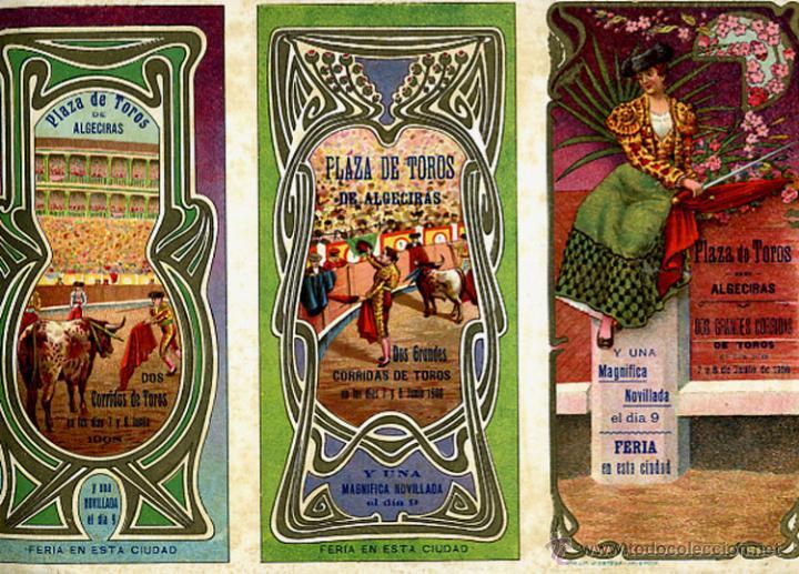 CARTEL FERIAS Y FIESTAS, ALGECIRAS , CADIZ , TRIPTICO , CROMOLITOGRAFIA , 1908 ,TOROS, ORIGINAL , A (Coleccionismo - Carteles Gran Formato - Carteles Ferias, Fiestas y Festejos)