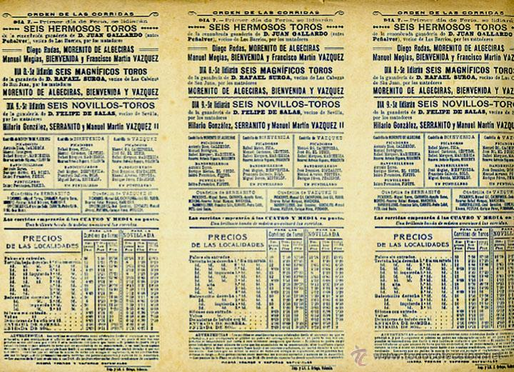 Carteles Feria: CARTEL FERIAS Y FIESTAS, ALGECIRAS , CADIZ , TRIPTICO , CROMOLITOGRAFIA , 1908 ,TOROS, ORIGINAL , A - Foto 2 - 46600263