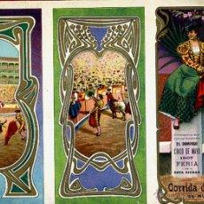 Carteles Feria: CARTEL FERIAS Y FIESTAS, FIGUERAS , GERONA , TRIPTICO , CROMOLITOGRAFIA , 1907 ,TOROS, ORIGINAL , A. Lote 46600280