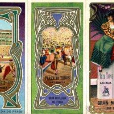 Carteles Feria: CARTEL FERIAS Y FIESTAS, VALENCIA , TRIPTICO , CROMOLITOGRAFIA , 1906 ,TOROS JULIO , ORIGINAL , A. Lote 46600307