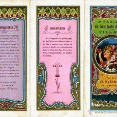 Carteles Feria: CARTEL FERIAS Y FIESTAS, VILLADA , PALENCIA 1906 , TRIPTICO , CROMOLITOGRAFIA , ORIGINAL , A. Lote 46600335