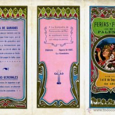 Carteles Feria: CARTEL FERIAS Y FIESTAS, PALENCIA , AGOSTO 1907 , TRIPTICO , CROMOLITOGRAFIA , ORIGINAL , A. Lote 46600340