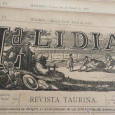 Carteles Feria: LOTE DE 6 CARTELES DE TORO-LA LIDIA-AÑO 1887-ORIGINALES-. Lote 47701328
