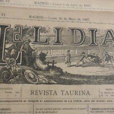 Carteles Feria: LOTE DE 6 CARTELES DE TORO-LA LIDIA-AÑO 1887-ORIGINALES-. Lote 47701577