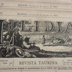 Carteles Feria: LOTE DE 6 CARTELES DE TORO-LA LIDIA-AÑO 1887-ORIGINALES-. Lote 47701818