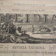 Carteles Feria: LOTE DE 6 CARTELES DE TORO-LA LIDIA-AÑO 1887-ORIGINALES-. Lote 47702109