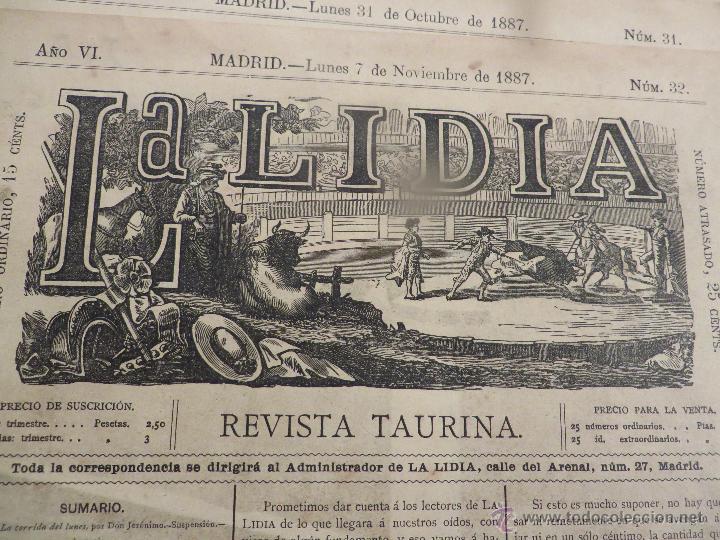 LOTE DE 5 CARTELES DE TOROS-LA LIDIA-AÑO 1887-ORIGINALES- (Coleccionismo - Carteles Gran Formato - Carteles Ferias, Fiestas y Festejos)