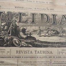 Carteles Feria: LOTE DE 5 CARTELES DE TOROS-LA LIDIA-AÑO 1887-ORIGINALES-. Lote 47702302