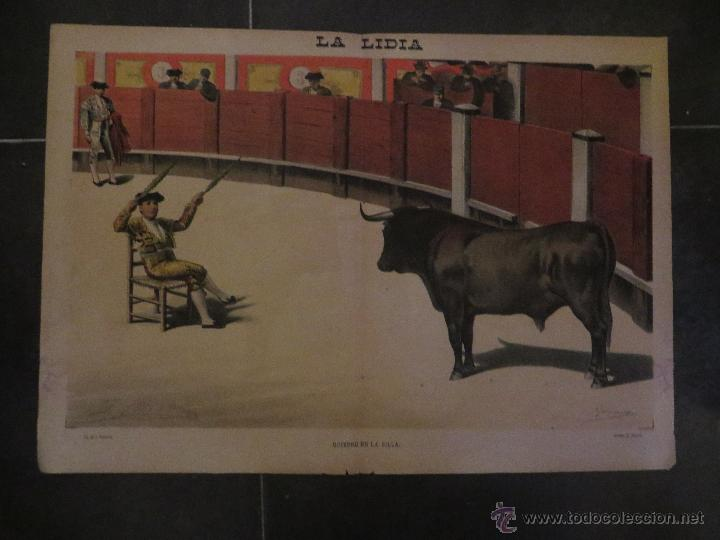 Carteles Feria: LOTE DE 5 CARTELES DE TOROS-LA LIDIA-AÑO 1887-ORIGINALES- - Foto 2 - 47702302