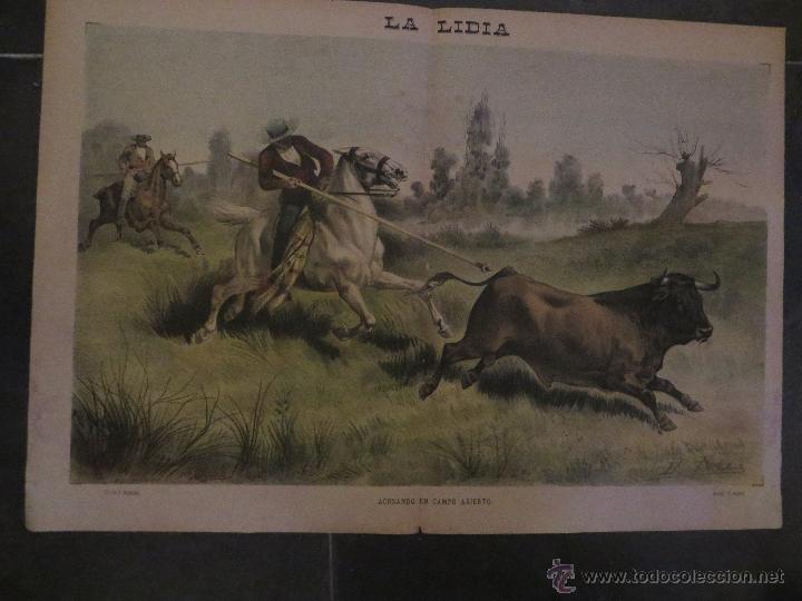 Carteles Feria: LOTE DE 5 CARTELES DE TOROS-LA LIDIA-AÑO 1887-ORIGINALES- - Foto 3 - 47702302
