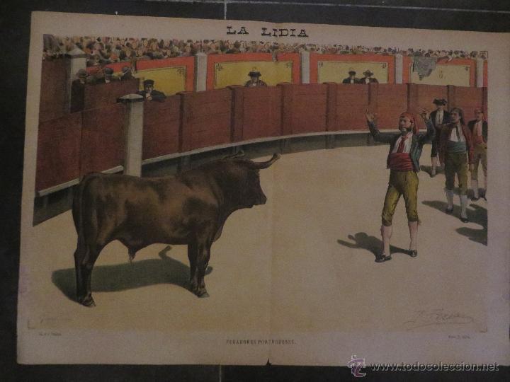 Carteles Feria: LOTE DE 5 CARTELES DE TOROS-LA LIDIA-AÑO 1887-ORIGINALES- - Foto 4 - 47702302