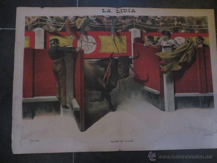 Carteles Feria: LOTE DE 5 CARTELES DE TOROS-LA LIDIA-AÑO 1887-ORIGINALES- - Foto 6 - 47702302
