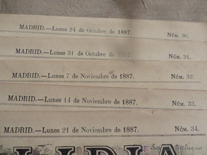 Carteles Feria: LOTE DE 5 CARTELES DE TOROS-LA LIDIA-AÑO 1887-ORIGINALES- - Foto 7 - 47702302
