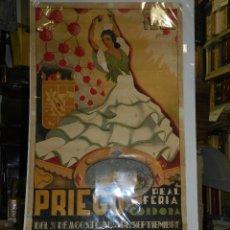 Carteles Feria: CARTEL PRIEGO REAL FERIA DE CORDOBA SEPTIEMBRE 1953, ILUSTRADO POR JOSE ORTIZ, ORIGINAL. Lote 47738056