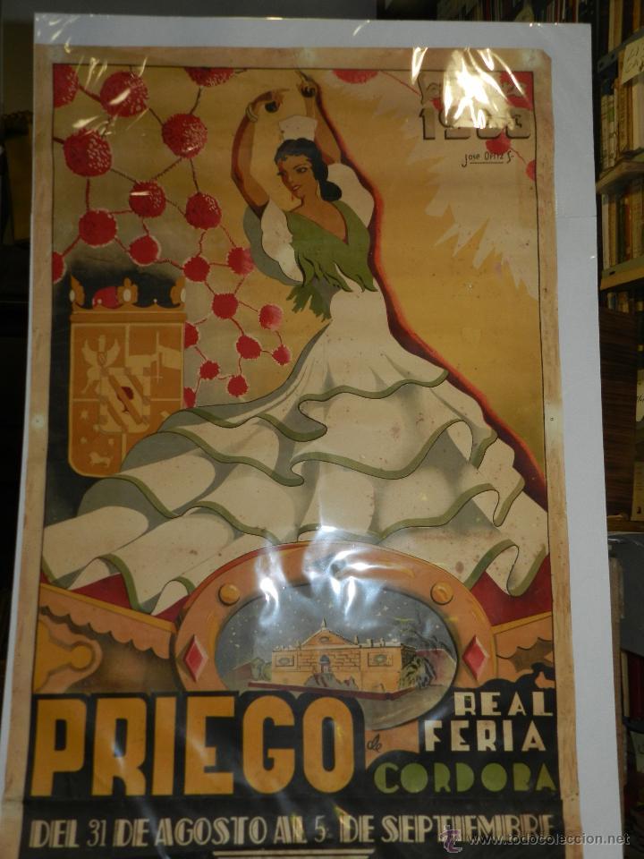 Carteles Feria: CARTEL PRIEGO REAL FERIA DE CORDOBA SEPTIEMBRE 1953, ILUSTRADO POR JOSE ORTIZ, ORIGINAL - Foto 2 - 47738056