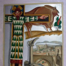 Carteles Feria: ANTIGUO CARTEL EXPOSICION INTERNACIONAL DE BARCELONA 1929 EL ARTE EN ESPAÑA. F. GALÉ. Lote 47938435