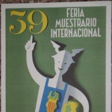 Carteles Feria: CARTEL 39 FERIA MUESTRARIO INTERNACIONAL VALENCIA 1961 - ILUSTRADO POR MONTÉS. Lote 48147537