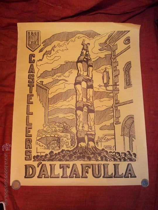 CARTEL CASTELLERS D´ALTAFULLA- ALTAFULLA -TARRAGONA. AÑOS 70 (Coleccionismo - Carteles Gran Formato - Carteles Ferias, Fiestas y Festejos)