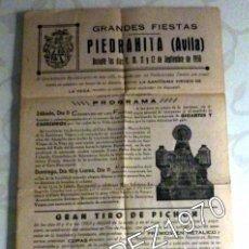 Carteles Feria: PIEDRAHITA, AVILA, 1950, CARTEL FIESTAS SANTISIMA VIRGEN DE LA VEGA, 210X400MM, RARISIMO. Lote 48447736