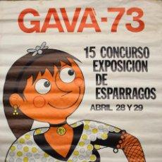 Carteles Feria: CARTEL 15 CONCURSO EXPOSICION DE ESPARRAGOS GAVA 1973 BARCELONA ILUSTRADO POR JOAN MITJANS. Lote 48566020