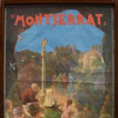 Carteles Feria: CARTEL PUBLICIDAD MONTSERRAT AÑOS 30 1931 FESTES JUBILARS BARCELONA RELIGION CATALUNYA POPULAR. Lote 48704855