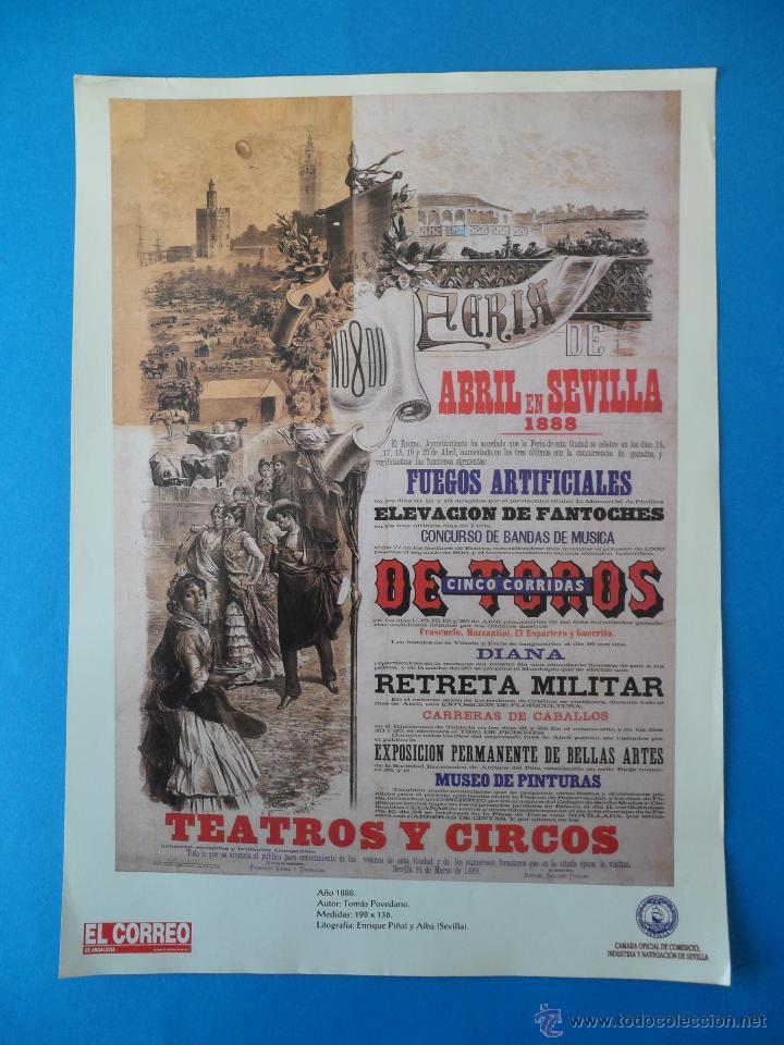 LÁMINA DE ANTIGUO CARTEL ANUNCIADOR DE LAS FIESTAS DE PRIMAVERA. SEVILLA 1888 (Coleccionismo - Carteles Gran Formato - Carteles Ferias, Fiestas y Festejos)