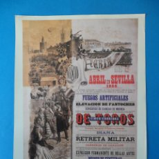 Carteles Feria: LÁMINA DE ANTIGUO CARTEL ANUNCIADOR DE LAS FIESTAS DE PRIMAVERA. SEVILLA 1888. Lote 48901784