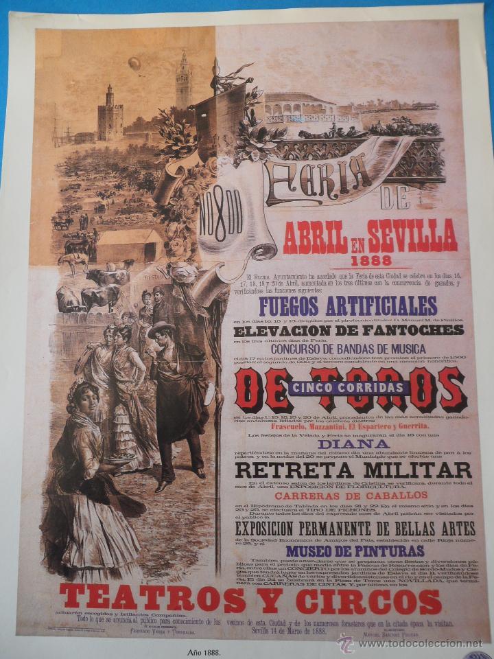 Carteles Feria: Lámina de Antiguo cartel anunciador de las Fiestas de Primavera. Sevilla 1888 - Foto 2 - 48901784
