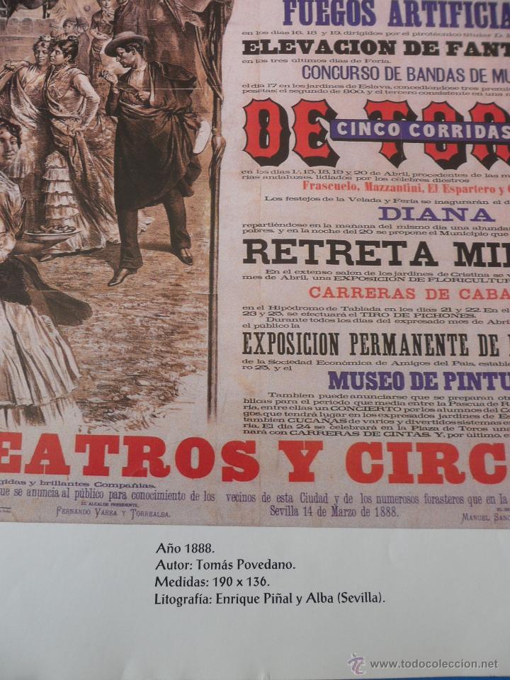 Carteles Feria: Lámina de Antiguo cartel anunciador de las Fiestas de Primavera. Sevilla 1888 - Foto 3 - 48901784