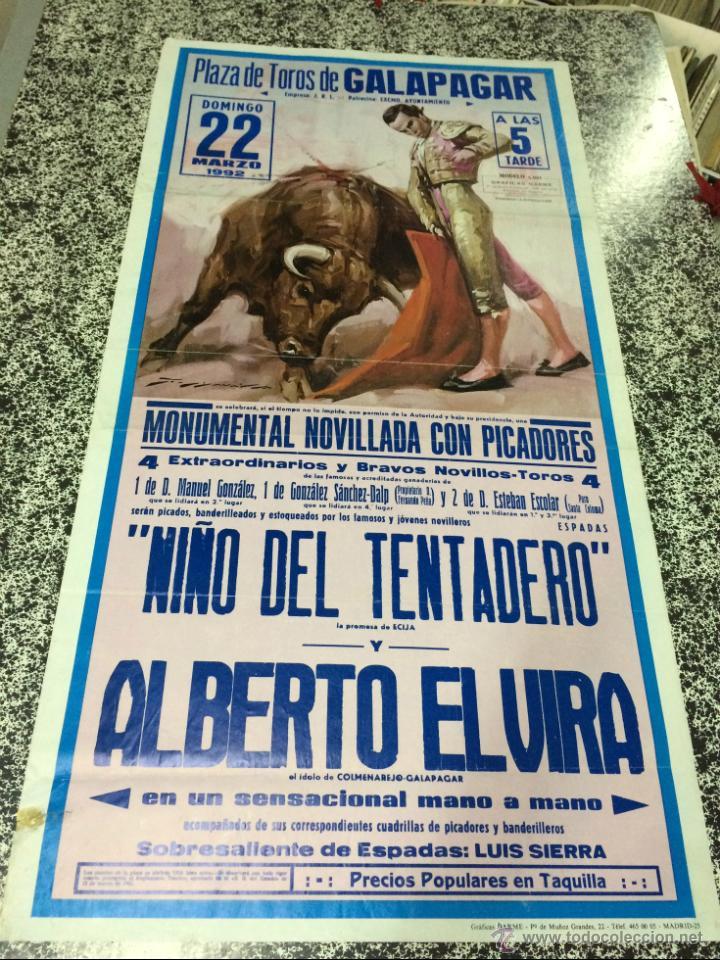 PLAZA DE TOROS DE GALAPAGAR (MADRID) - MONUMENTAL NOVILLADA CON PICADORES - DOMINGO 22 MARZO 1992 . (Coleccionismo - Carteles Gran Formato - Carteles Ferias, Fiestas y Festejos)