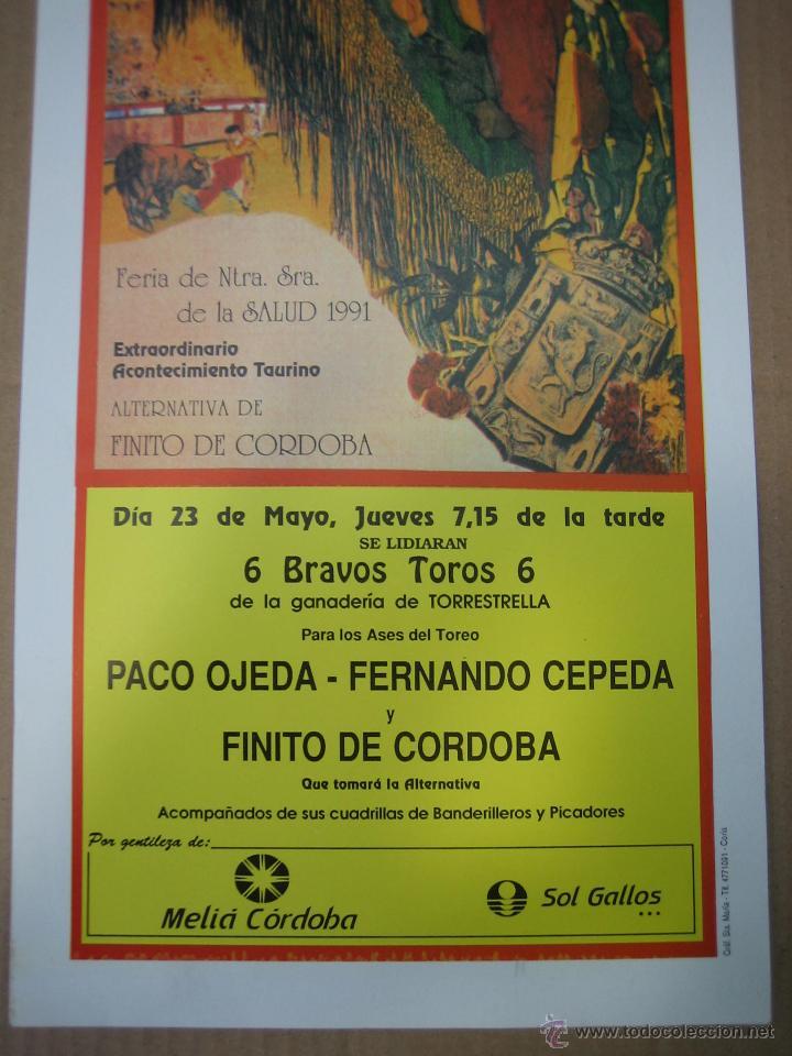 Carteles Feria: Cartel plaza de toros de Cordoba 1991. Medidas 20X49 cm - Foto 3 - 49258305