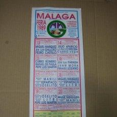 Carteles Feria: CARTEL PLAZA DE TOROS DE MALAGA1989. MEDIDAS 16X42,50 CM. Lote 49258342