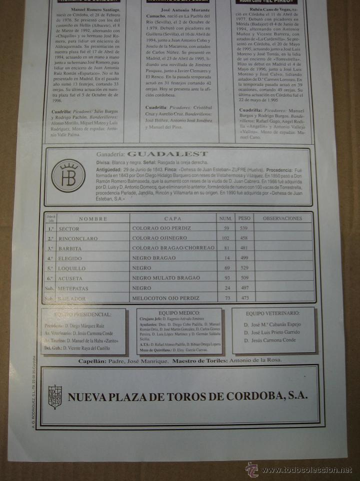 Carteles Feria: Cartel plaza de toros de Cordoba 1997. Medidas 21X43,50 cm - Foto 3 - 49258355