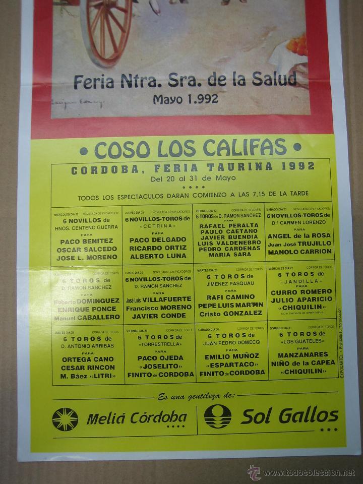 Carteles Feria: Cartel plaza de toros de Cordoba 1992. Medidas 22,50X51 cm - Foto 3 - 49258421
