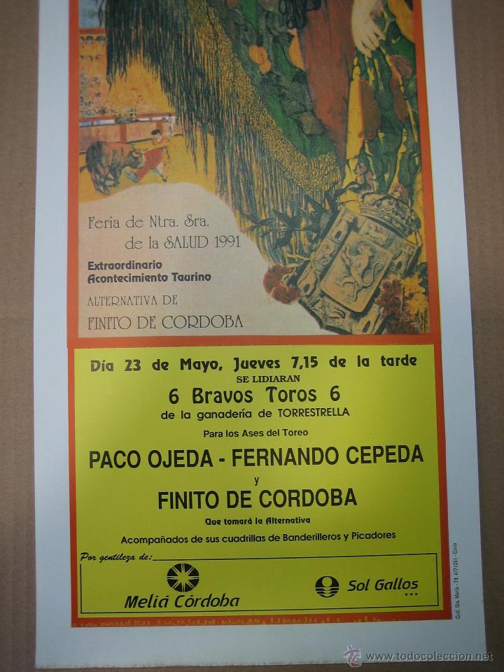 Carteles Feria: Cartel plaza de toros de Cordoba 1991.Medidas 20XX49 cm - Foto 3 - 49258437