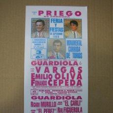 Carteles Feria: CARTEL PLAZA DE TOROS DE PRIEGO DE CÓRDOBA 1988. MEDIDAS13X30 CM. Lote 49258488
