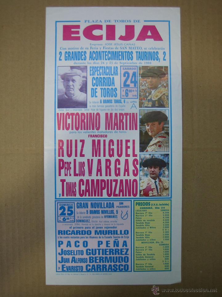 CARTEL PLAZA DE TOROS DE ECIJA 1988. MEDIDAS14X28,5 CM (Coleccionismo - Carteles Gran Formato - Carteles Ferias, Fiestas y Festejos)